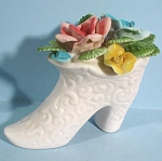 Click here to enlarge image and see more about item pt00966: White Porcelain Boot with Flowers