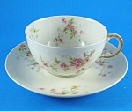 Click here to enlarge image and see more about item pt01029: Theodore Haviland Limoges Floral Cup and Saucer