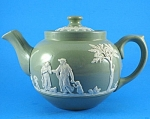 Click to view larger image of Dudson Bros Gloss Green Jasperware Teapot (Image1)