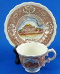 Click here to enlarge image and see more about item pt01075: Vernon Kilns Mini Jefferson Memorial Cup and Saucer