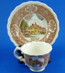 Click here to enlarge image and see more about item pt01076: Vernon Kilns Miniature Mount Vernon Cup and Saucer