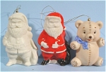 Three Ceramic Ornaments - Two Santas and a Bear