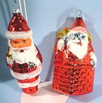 Click here to enlarge image and see more about item s00096: Two Glass Santa Ornaments