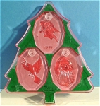 Click here to enlarge image and see more about item s00164: Irish Rose Lead Crystal Christmas Ornament Trio