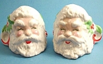 1950s Pottery Santa Candle Holder Pair