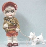Vintage All Bisque Boy Hunter With Dog
