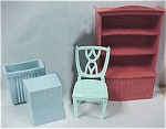 Click here to enlarge image and see more about item t00755: 1960s MPC Buffet, Chair, Hamper