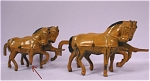 Click here to enlarge image and see more about item t01023: Barclay 1930s Team of Four Metal Horses