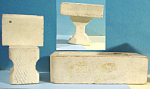 Click here to enlarge image and see more about item t01307: Donna Lee 1940s Wood Dollhouse Bathroom Set