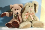 Click here to enlarge image and see more about item t01366: Boyds Teddy Bear and Bunny Rabbit