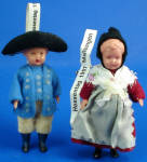 Click here to enlarge image and see more about item t01603: 1980s Miniature German Doll Pair