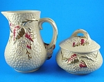 Click here to enlarge image and see more about item w00508: Wade Gold Trim Bramble Cream Pitcher and Sugar Bowl