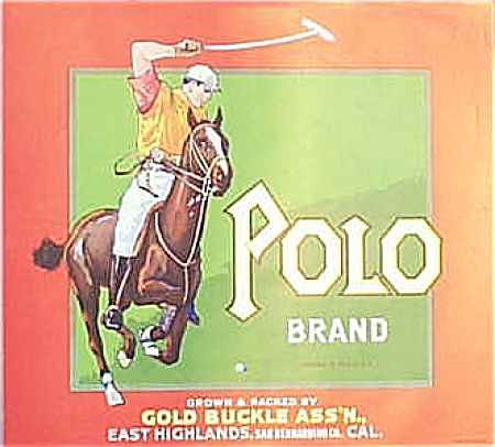 Advertising -CRATE LABEL 1940's- POLO PLAYER. (Image1)