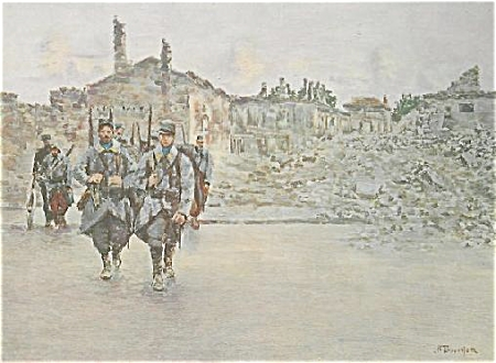 WWI PRINT BY BOUCHOR -TROOPS IN RUINS C.1915. (Image1)