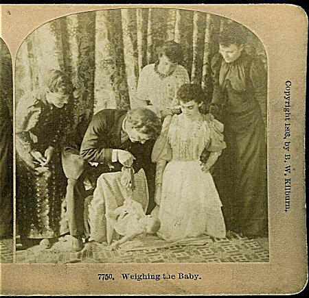 STEREOVIEW - WEIGHING BABY C.1893. (Image1)