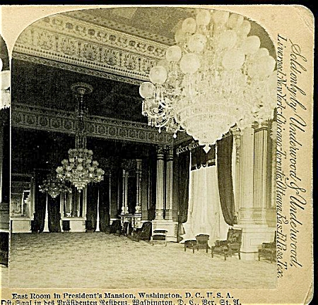 Stereoview - White House, East Room. 1890's.