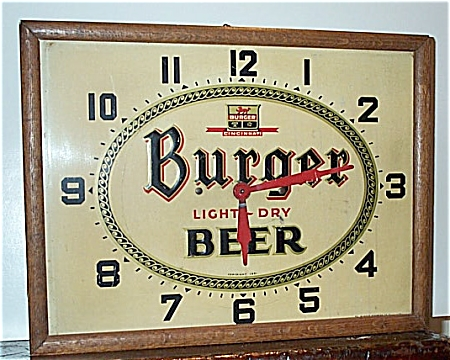 Vintage Burger Beer Advertising Clock 1951  (Image1)