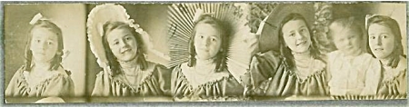 Antique Photo - Studio Strip - Cute Girl - Parasol.