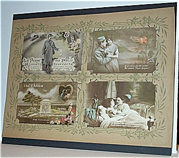 Wwi French Postcards In Art Nouveau Album Page.