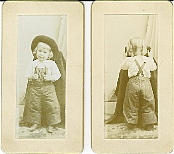 Miniature Cabinet Photos - Little Girl Front & Back. (Image1)