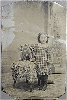 Tintype of Young Girl with Her CAT. (Image1)