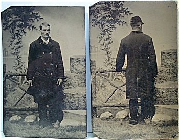 Tintype Set - Front & Back Views Of Same Man.