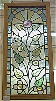 Antique Stained Glass Window in Oak Frame (Image1)