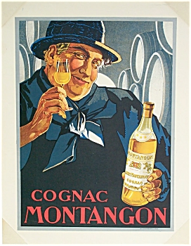 COGNAC MONTANGON Original Advertising Poster C.1910 (Image1)