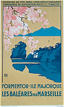 French Rail Majorca Travel Poster 1920's ALO (Image1)
