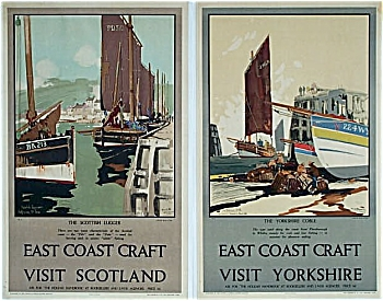 PAIR 1929 FRANK MASON LNER posters East Coast Craft (Image1)