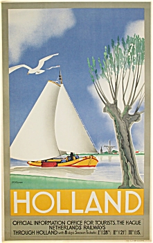 VINTAGE POSTER for NETHERLANDS RAILWAY 1935 M. Wilmink (Image1)