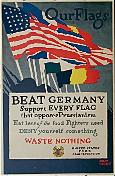 WWI Vintage Poster AGAINST PRUSSIANISM by TREIDLER. (Image1)