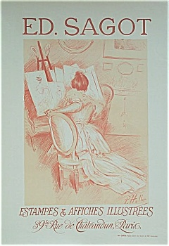 Antique Helleu Poster Ed. Sagot Gallery 1897