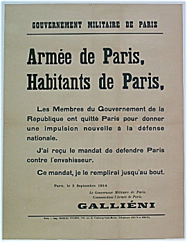 RARE WWI 1914 Poster Gen. Gallieni Battle of the Marne (Image1)