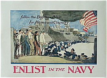 Vintage ORIGINAL Poster ENLIST IN THE NAVY G. Wright (Image1)