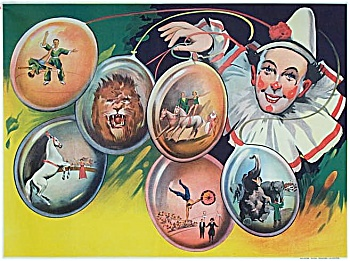 Vintage Circus Poster C.1930 Clown with Balloons (Image1)