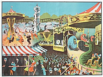 1930 Circus Carnival Poster with Colorful Midway Scene (Image1)