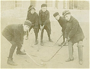CABINET PHOTO � BOYS PLAYING STREET HOCKEY C.1910. (Image1)