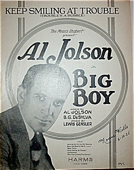 Sheet Music - AL JOLSON in BIG BOY. (Image1)
