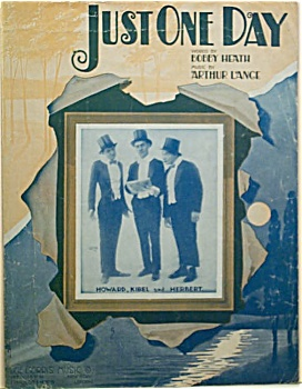 Sheet Music – JUST ONE DAY.  C.1916. (Image1)