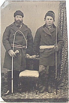 Tintype - Russian Troika Drivers 19th Century.