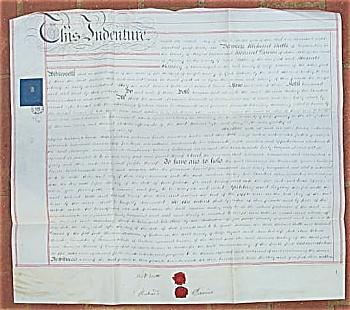 Antique Lease Document 1836 – Wax Seals. (Image1)