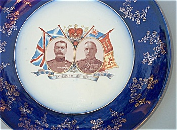 BOER WAR plate with Kitchener & French - Conquer or Die (Image1)