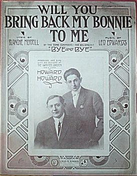 Sheet Music – BRING BACK MY BONNIE TO ME.  1917. (Image1)
