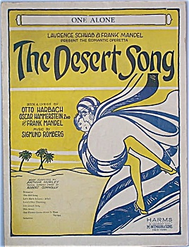 Sheet Music - The Desert Song - Hammerstein - C. 1926.