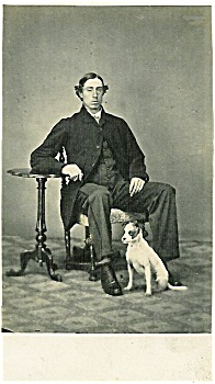 Carte De Visite – Man and dog -  Jack Russell terrier. (Image1)