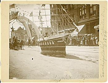 Cabinet Photo – Bicycle-powered float – San Diego 1894. (Image1)