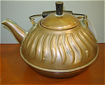 Vintage Copper Tea Kettle With Wavy Embossed Design
