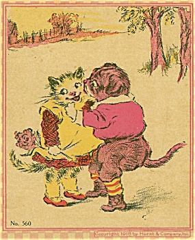 Antique children's book prints Kittie & Doggie 1918 (Image1)
