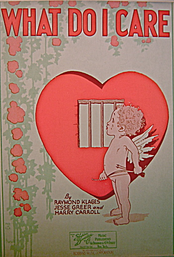 "Vintage Sheet Music ""WHAT DO I CARE"" 1929 Cupid (Image1)"